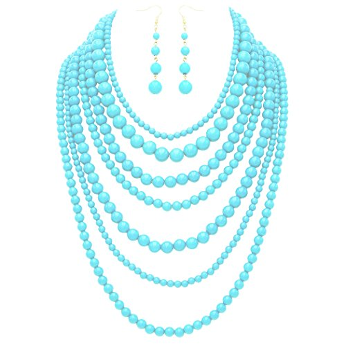 Fashion Jewelry Set Beaded Multi Strand Bib Necklace (Sky Blue)