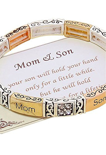 "Mom and Son ""Will Hold Your Heart for a Lifetime"" Tri Color Stretch Bangle Bracelet"