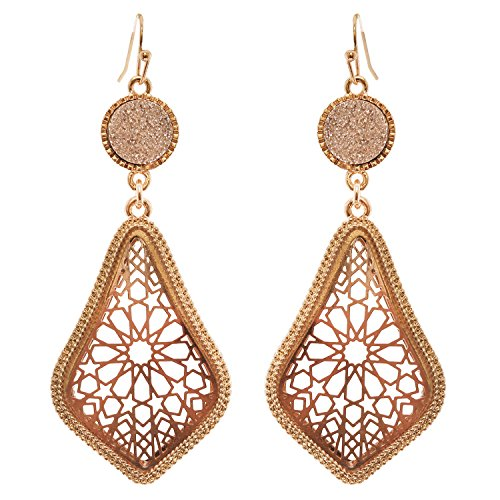 Druzy Stone and Moroccan Filigree Dangle Earrings (Gold Tone and Rose Gold)