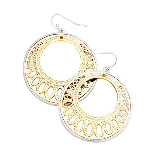Two Tone Filigree Cutout Disc Earrings (Silver with Gold Color)