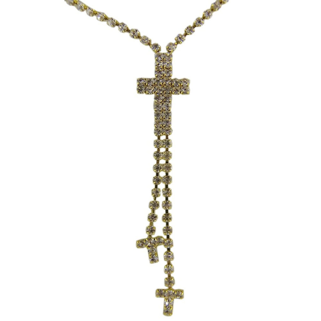 Golden Crystal Rhinestone Cross Lariat Style Necklace and Earring Set