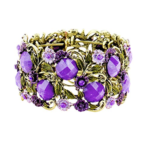 Statement Stone Flower Leaf Cluster Wide Open Cuff Comfortable Purple Bracelet