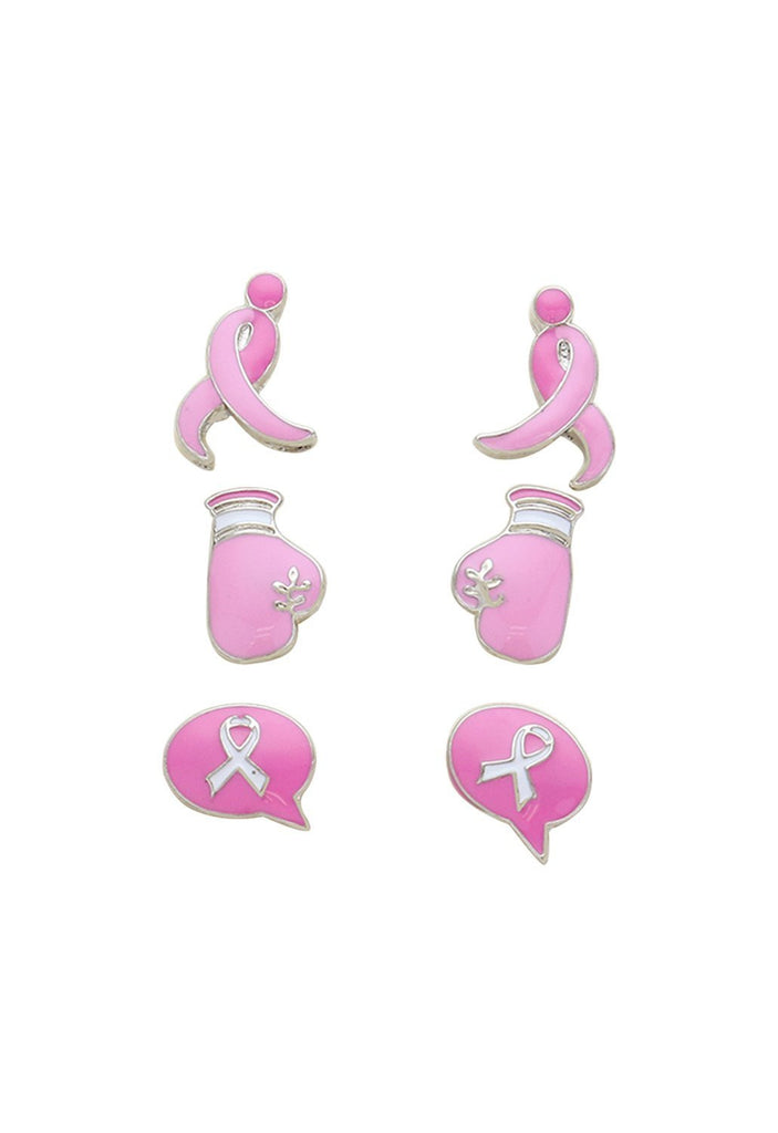 Pink Ribbon Stud Earrings Gift Set of 3 Pink and Gold Tone