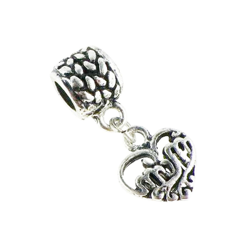 Mom Filigree Heart Dangle Charm Bead