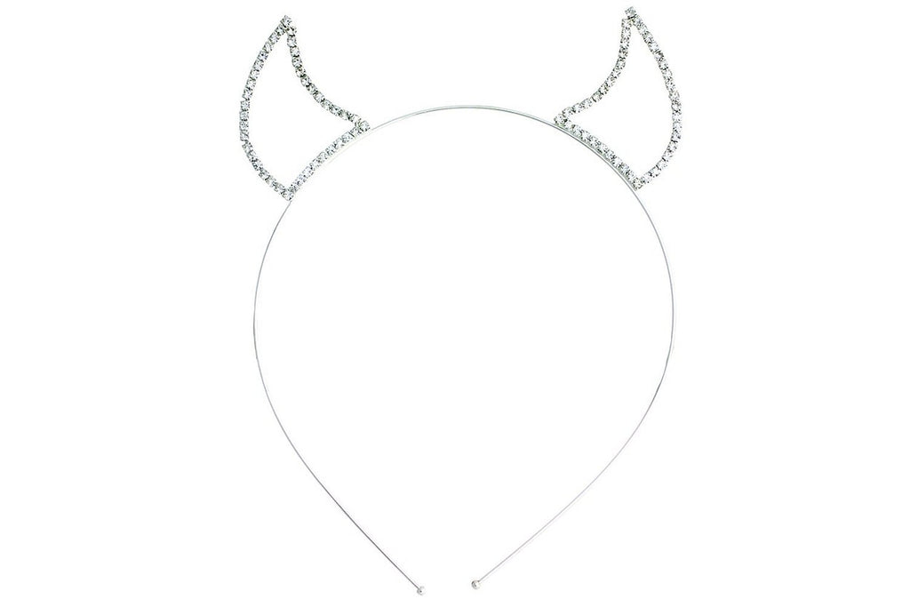 Crystal Clear Rhinestone Devil Horns Tiara Headband