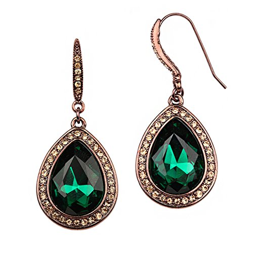 Long Dangle Teardrop Crystal Rhinestone Statement Earrings (Green)