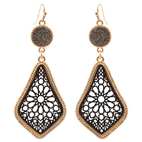 Druzy Stone and Moroccan Filigree Dangle Earrings (Gold Tone and Black)