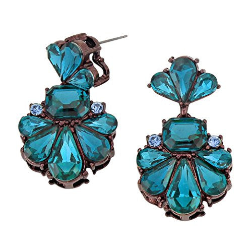 Vintage Style Statement Floral Crystal Dangle Earrings (Blue)