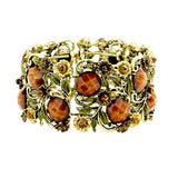 Stone Flower Leaf Cluster Wide Cuff Bracelet (Antique Gold Tone/Brown)