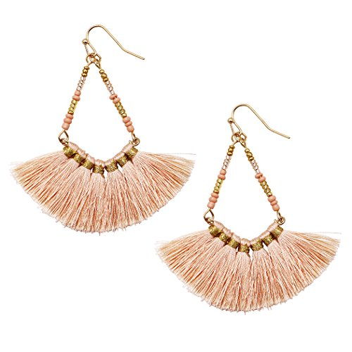 Beaded Thread Tassel Dangle Earrings (Peach)