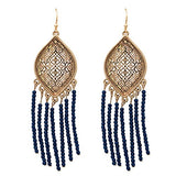 Moroccan Filigree Beaded Tassel Earrings (Navy Blue)