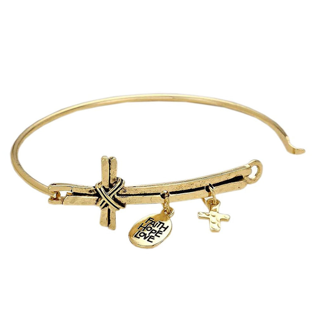 Sideways Cross with Faith Hope Love Charm Wire Bangle Gold Color Bracelet