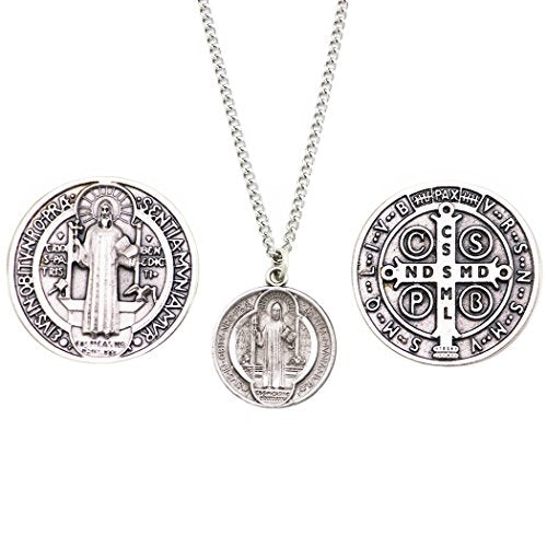 Rosemarie Collections Saint Benedict Pendant Necklace and 2 Religious Pocket Tokens