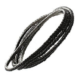 Set of 5 Rhinestone Stretch Bracelets (Hematite/Jet Black)