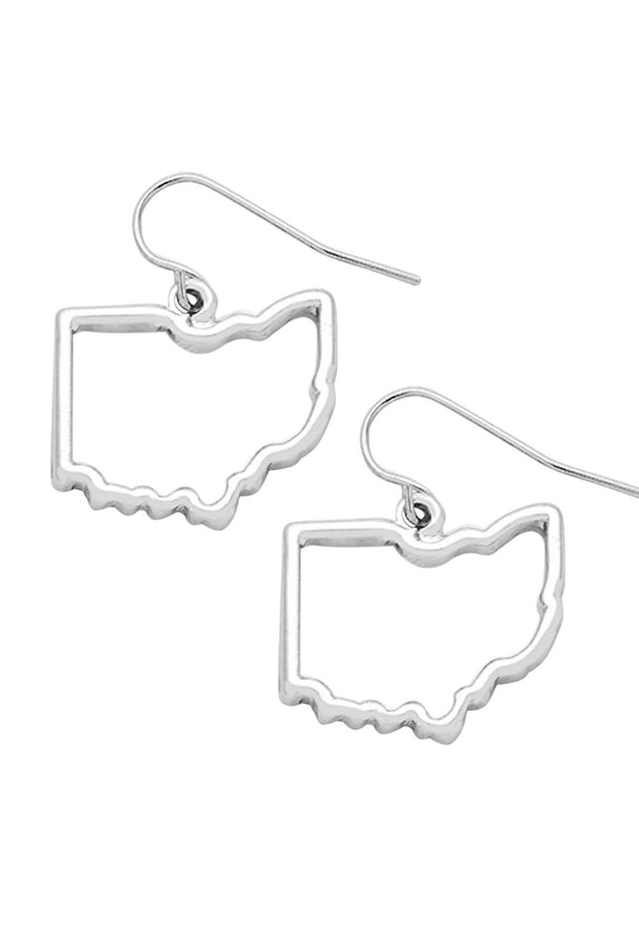 Ohio State Outline Silver Tone Earrings