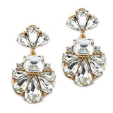 Vintage Style Statement Floral Crystal Dangle Earrings (Gold Clear)