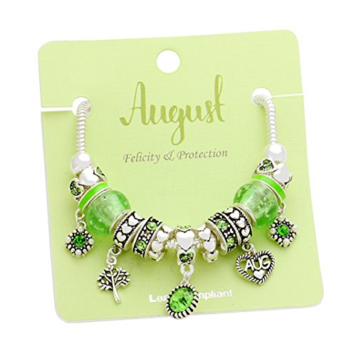 Birth Month Birthstone Glass Bead Charm Bracelet (August)