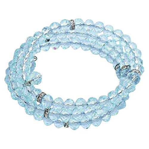 Crystal Accent Coiled Adjustable Bracelet Aqua Glass Bead