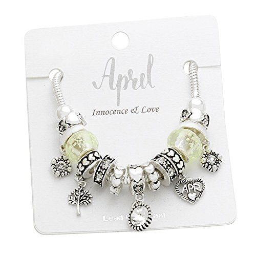 Birth Month Birthstone Glass Bead Charm Bracelet (April)