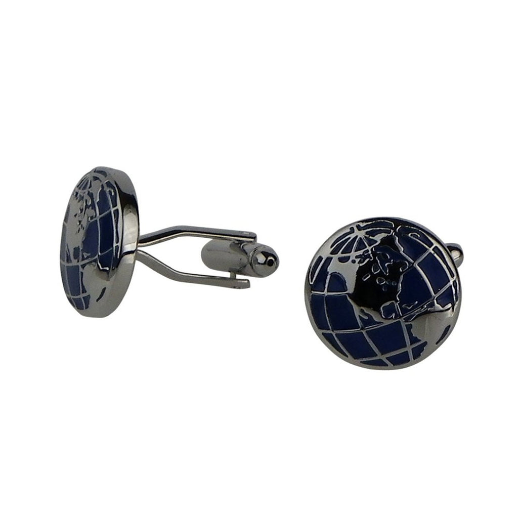 Globe Trotter Silver Color Cuff Links