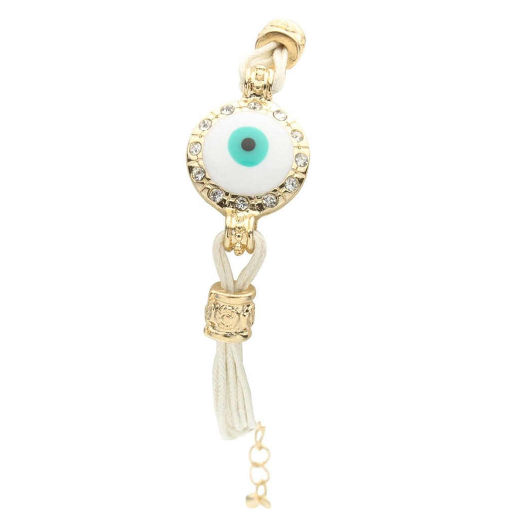 Crystal Accented Evil Eye Charm Friendship Bracelet