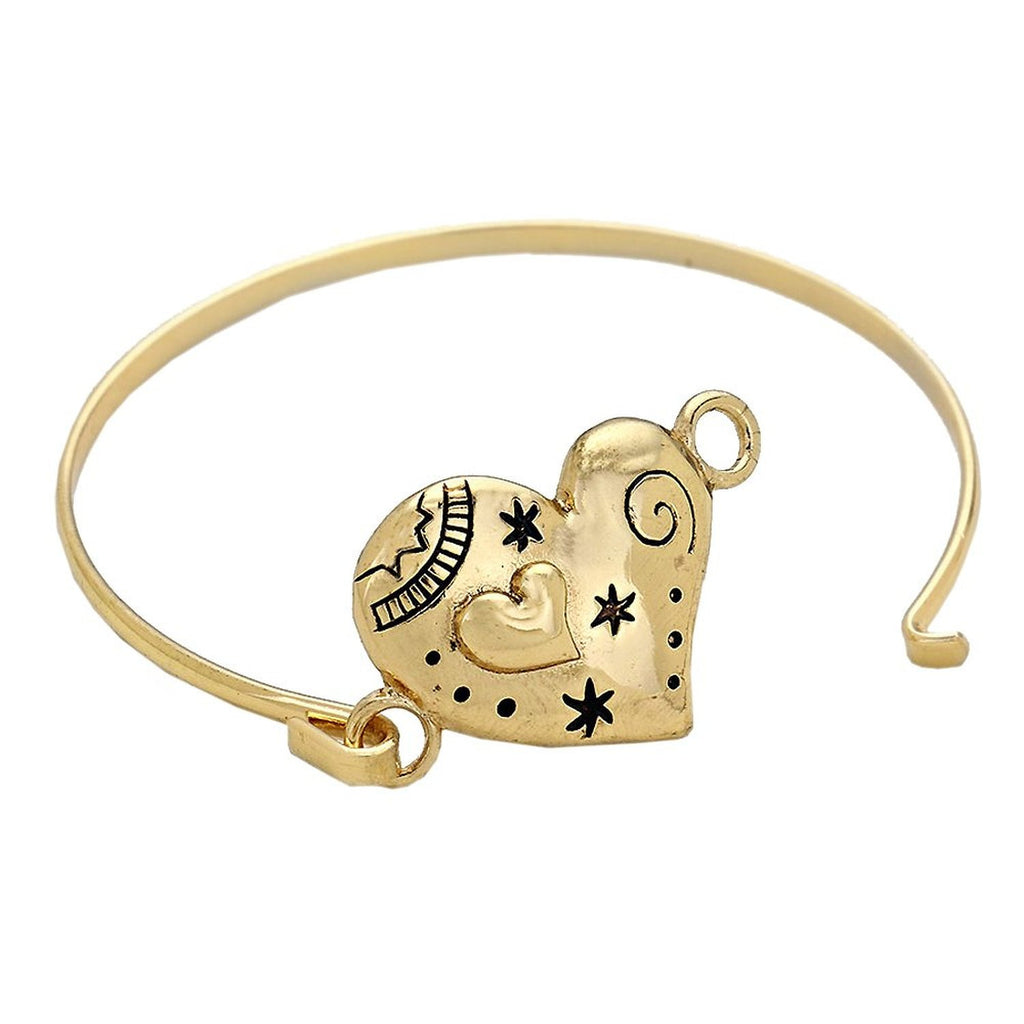 Gold Color Heart Bangle Bracelet
