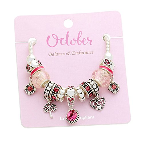 Birth Month Birthstone Glass Bead Charm Bracelet (October)