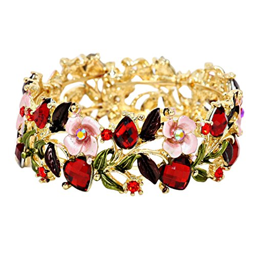 Glass Crystal and Floral Vine Valentine Fashion Cuff Bracelet (Pink and Red)
