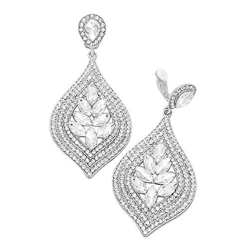 Marquise Crystal Vintage Style Clip On Earrings (Silver Tone Clear Crystal)