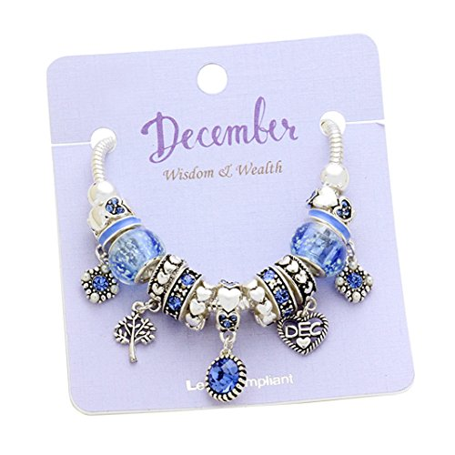 Birth Month Birthstone Glass Bead Charm Bracelet (December)