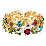 Glass Crystal and Floral Vine Fashion Cuff Bracelet (Jewel Tones)