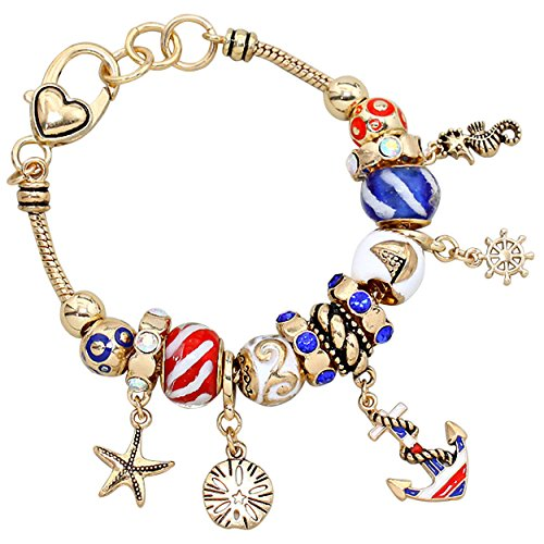 "Glass Bead Charm Bracelet ""Red White and Blue Anchor"""