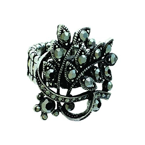 Crystal Cocktail Multiple Rhinestone Statement Stretch Ring (Hematite)