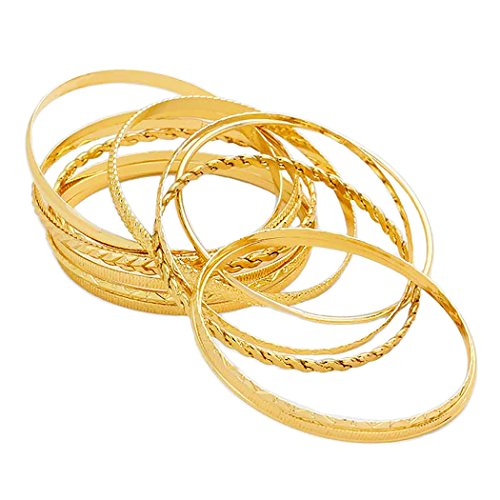 Classic Bangle Bracelet Stacking Set Gold Tone
