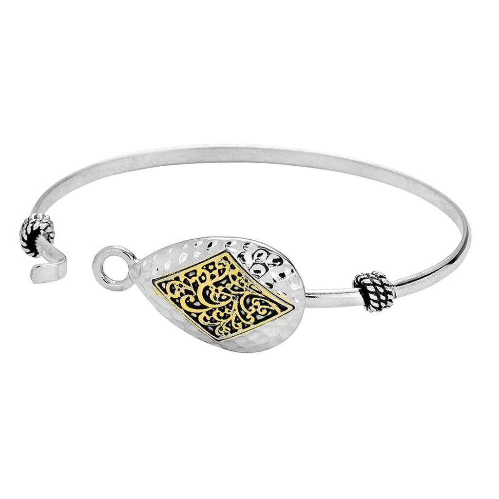 Hammered Filigree Teardrop Charm Bracelet Bangle