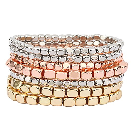 Tri Tone Bead Stretch Bracelet Set