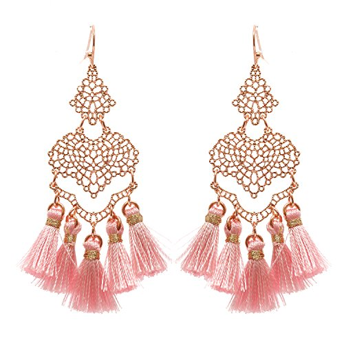 Thread Tassel Filigree Dangle Earrings (Rose Gold Tone/Pink)