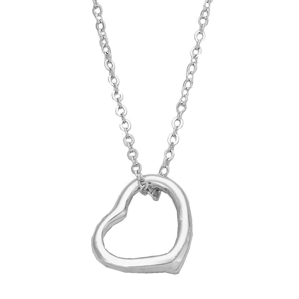 Silver Color Petite Heart Pendant with Chain Necklace