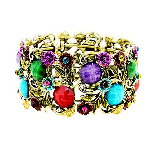 Stone Flower Leaf Cluster Wide Cuff Bracelet (Antique Gold Tone/Multi)