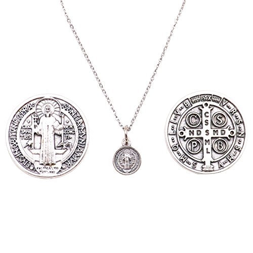 Rosemarie Collections Petite Saint Benedict Pendant Necklace and 2 Religious Pocket Tokens