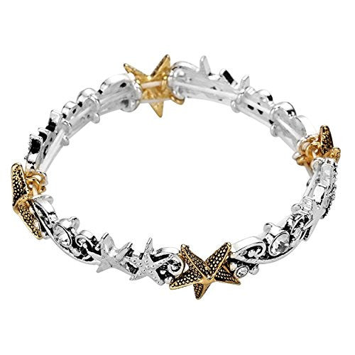 Starfish with Crystal Rhinestones Stretch Bracelet Silver and Gold Tone