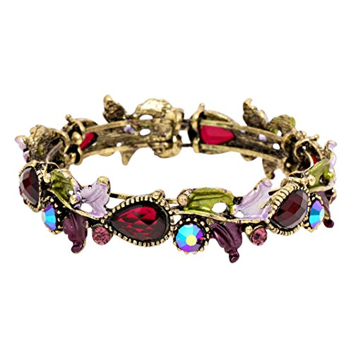 Leaf Vine Glass Crystal Fashion Cuff Bracelet (Antique Gold Tone/Purple)