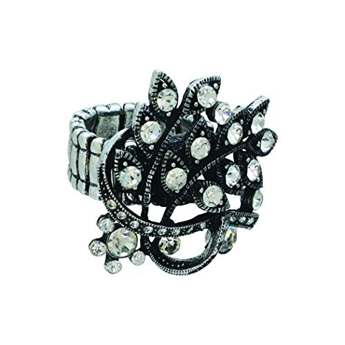 Large Hematite Rhinestone Crystal Statement Stretch Ring (Silver)