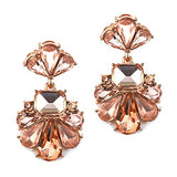 Vintage Style Statement Floral Crystal Dangle Earrings (Rose Gold Peach)
