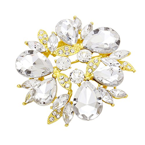 Sparkling Rhinestone Flower Statement Brooch Pin (Bright Gold and Clear)