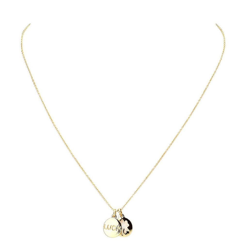 Four Leaf Clover Luck Pendant Necklace Gold Color