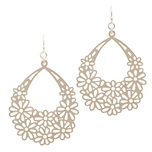 Simulated Leather Flower Long Dangle Lightweight Earrings (Blush)