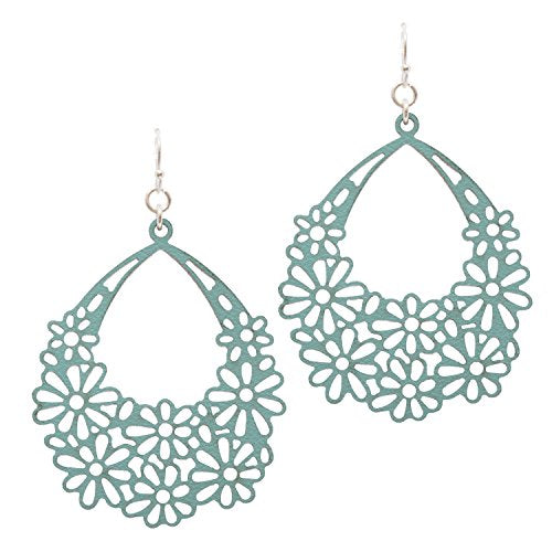 Simulated Leather Flower Long Dangle Flower Earrings (Turquoise)
