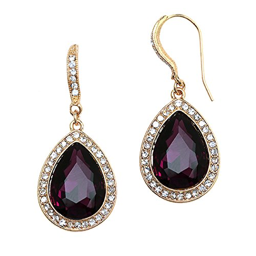 Teardrop Crystal Rhinestone Statement Drop Earrings (Gold Tone/Purple)