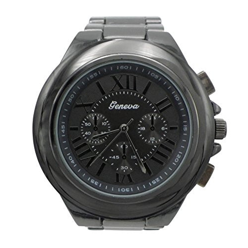 Fashionable Oversized Gunmetal Bracelet Watch